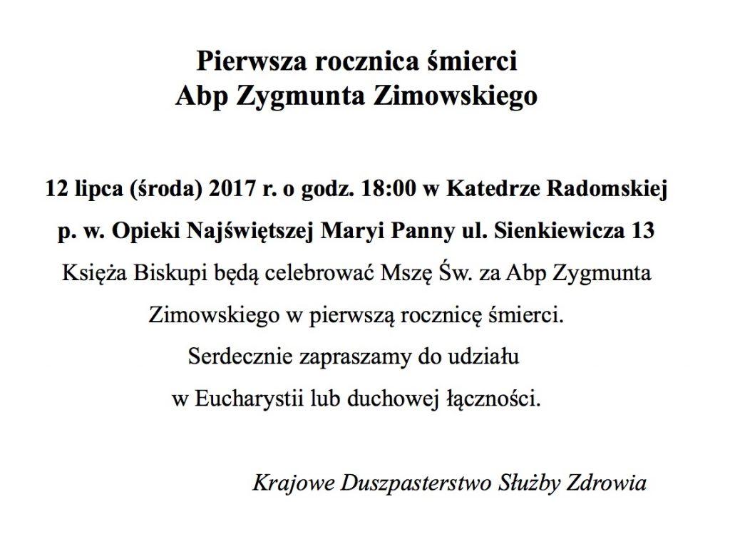 Pierwsza rocznica smierci Abp Zygmunta Zimowskiego