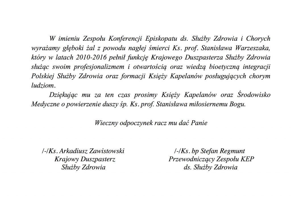 Śp. ks. prof. Stanisław Warzeszak